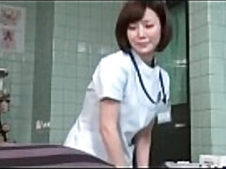 Subtitled Japanese female doctor gives patient handjob