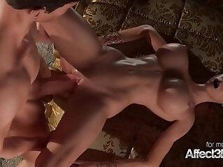 Horny 3D Princess giving blowjob to his big cock prince