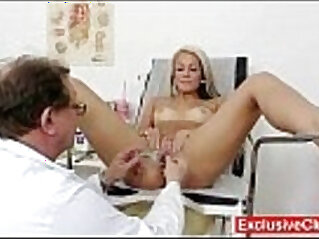 Old doctor checks young college girl pussy
