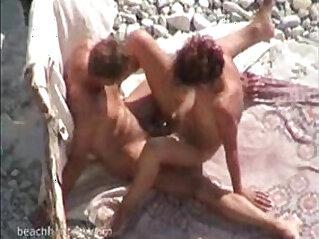 Beach sex voyeur with beautiful couple