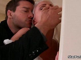 Blonde gets butt fucked hardcore on her wedding night