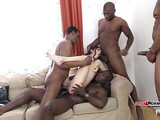 Mega interracial Gangbang Arwen Gold versus huge black cocks