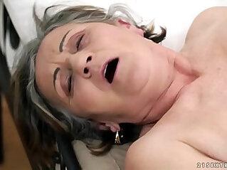 Hairy granny pussy finger fucked hard and deep