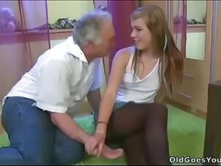 My young Girlfriend sucks and fucks with my old Dad...