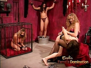 Kinky dominatrix enjoy spanking and whipping a sexy amateur brunette bimbo