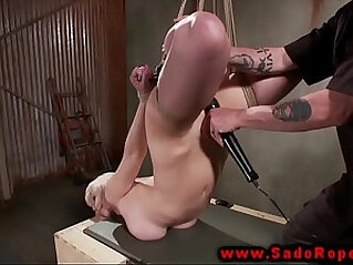 Hogtied sub gets tight pussy whipped by her lucky master