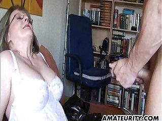 Busty mature brunette Milf sucks fucks