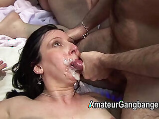 Mature fucked by hard and taking facial cum