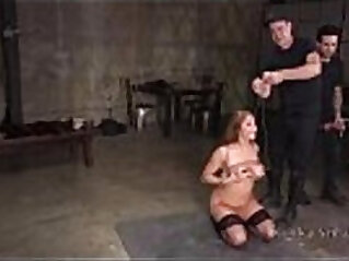 Natural busty bound slave got fucked