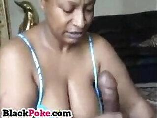 Black granny gives sloppy mean head