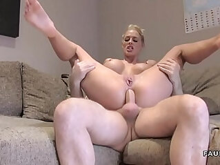Busty amateur blonde has anal British casting
