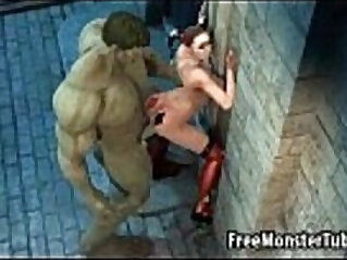 3D Harely Quinn gets fucked outdoors by The Hulk
