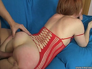ANAL TRAINING OF A GORGEOUS REDHEAD IN RED LINGERIE