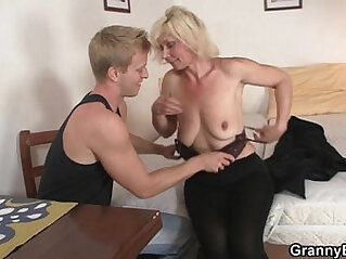 Old blonde takes it from behind at behind niche