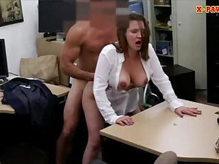 Horny busty woman gets fucked in the backroom for a plane ticket
