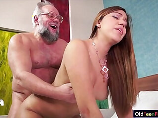 Teenie gets an old dick in her mouth and in her pussy