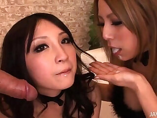Two horny Japanese honies take control and share a hard long mamba huge cock and hot jizz
