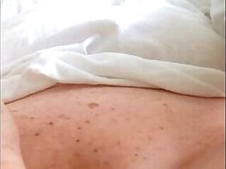 Redhead masturbating to vibrator orgasm in black panties