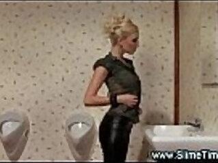 Glamorous blonde bukkaked at restroom gloryhole