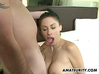 Hot amateur sucks cock and fucks in a hotel room