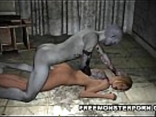 Busty babe loves getting anal fucked in the ass and pussy by a zombie