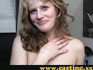 Casting Amateur babe in stockings gets her first taste of porn