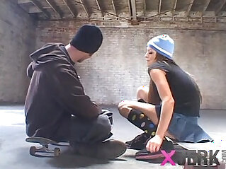 Skater chick gets it very hardcore