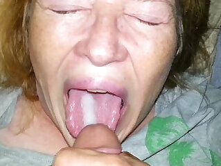 real son feeds his mom cum and she eats every drop