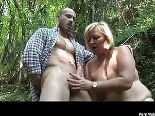 BBW granny anal fucked in the forest