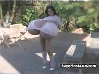 Hot brunette babe walking