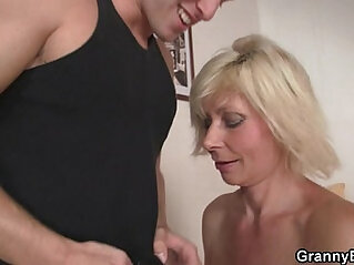 Old blonde babe rides her neighbor big cock
