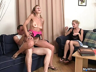 Mother in law rides my cock and wife watches