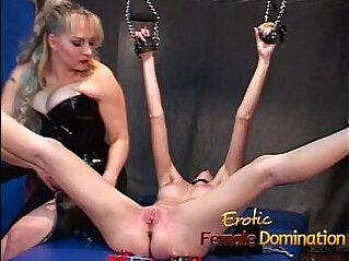 Naughty milf slut gets tied up and has her cunt pleasured