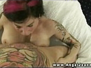 Tattood Angel Joanna titty fuck and BJ and fucked really hard