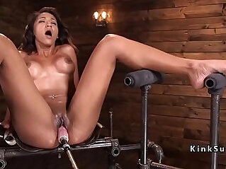 Busty blonde babe using different fucking machines