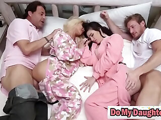 Dads swap daughters and fuck in the same bed hi