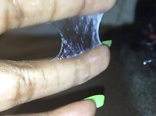 Fingering my tight black creamy pussy