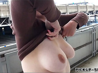 Redhead Eurobabe Helen flashes her big tits fucked for money
