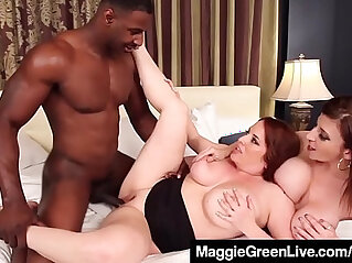 Curvy blonde maggie green and busty brunette milf sara jay fuck a cock