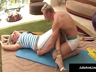Julia ann bangs yoga instructor and gets a load on her tits