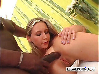 Big black cock fucking two horny chicks in a threesome GB