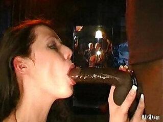 Big black mamba cock drilled throat of brunette babe