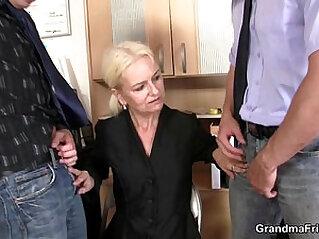 Granny takes cocks at job interview