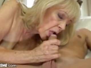 Horny Granny Rides Young Studs Throbbing Cock