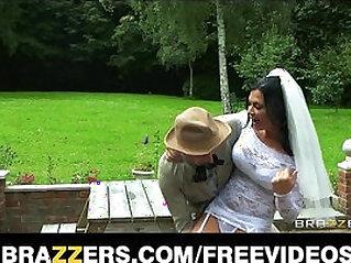 Busty brunette bride Jasmine Jae fucks the brother of the groom